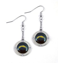 San Diego Chargers Round Crystal Dangler Earrings