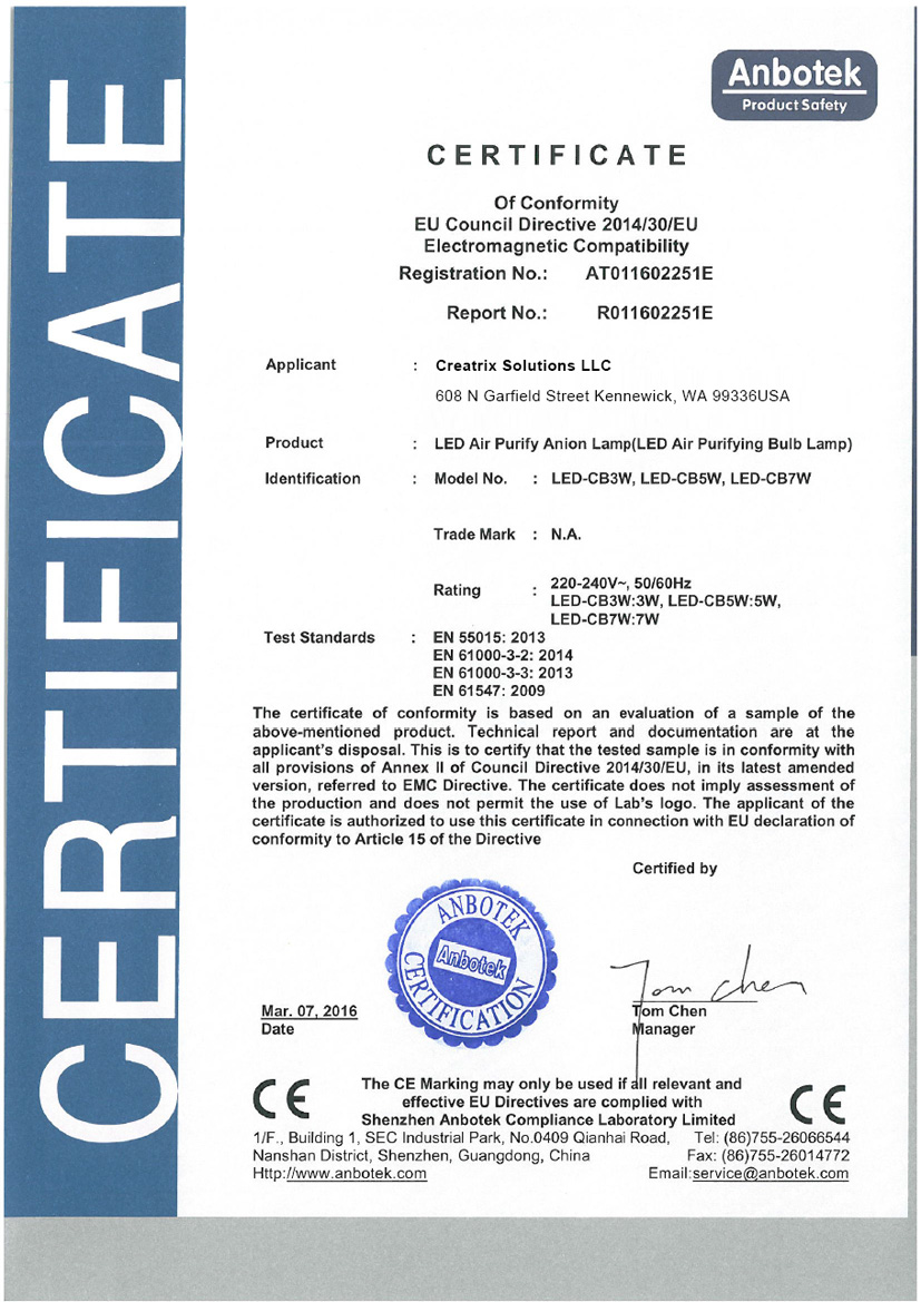 ION Brite Electromagnetic Compatibility Certificate of Conformity