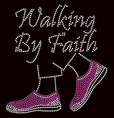 Walking by Faith Tennis Shoes Fuchsia PINK Rhinestone