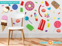 Candy Fabric Wall Decals - Gummy Bears, Lollipops, Jelly Beans