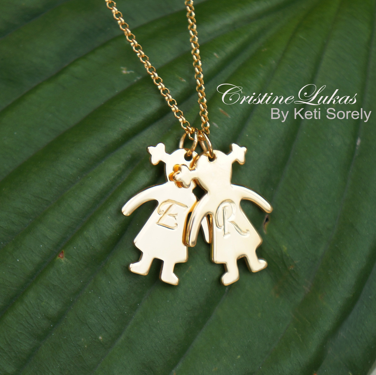 Engraved Kids Initials - Girl Boy Silhouette Charm