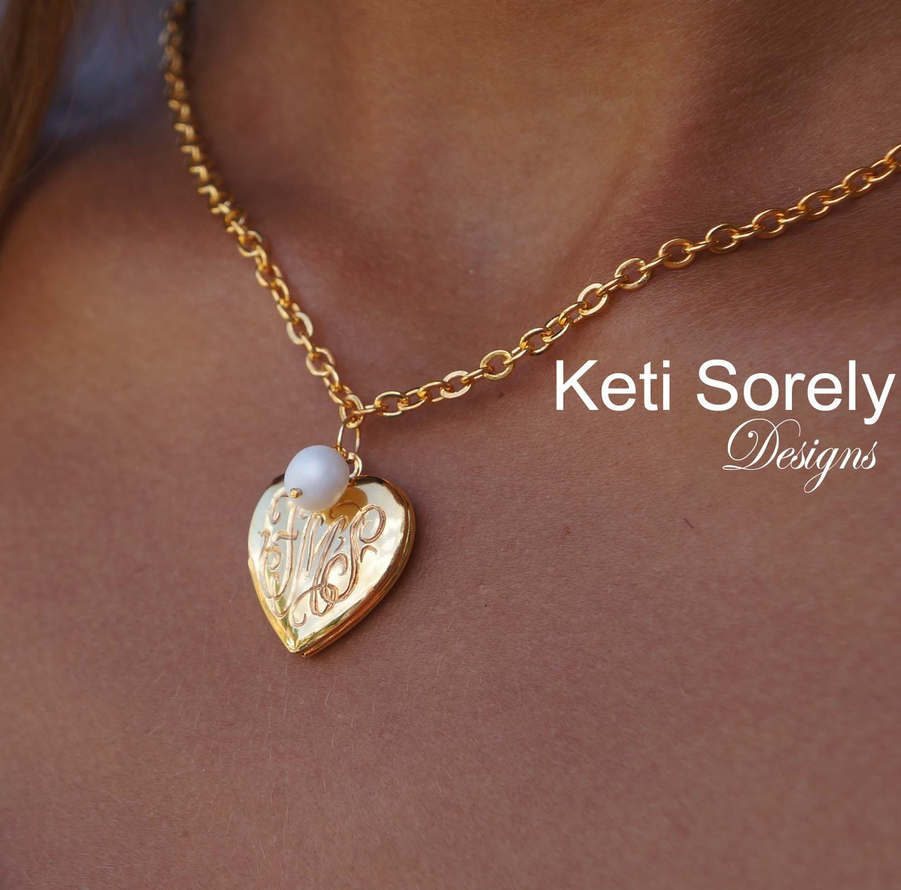 engraved locket necklace w