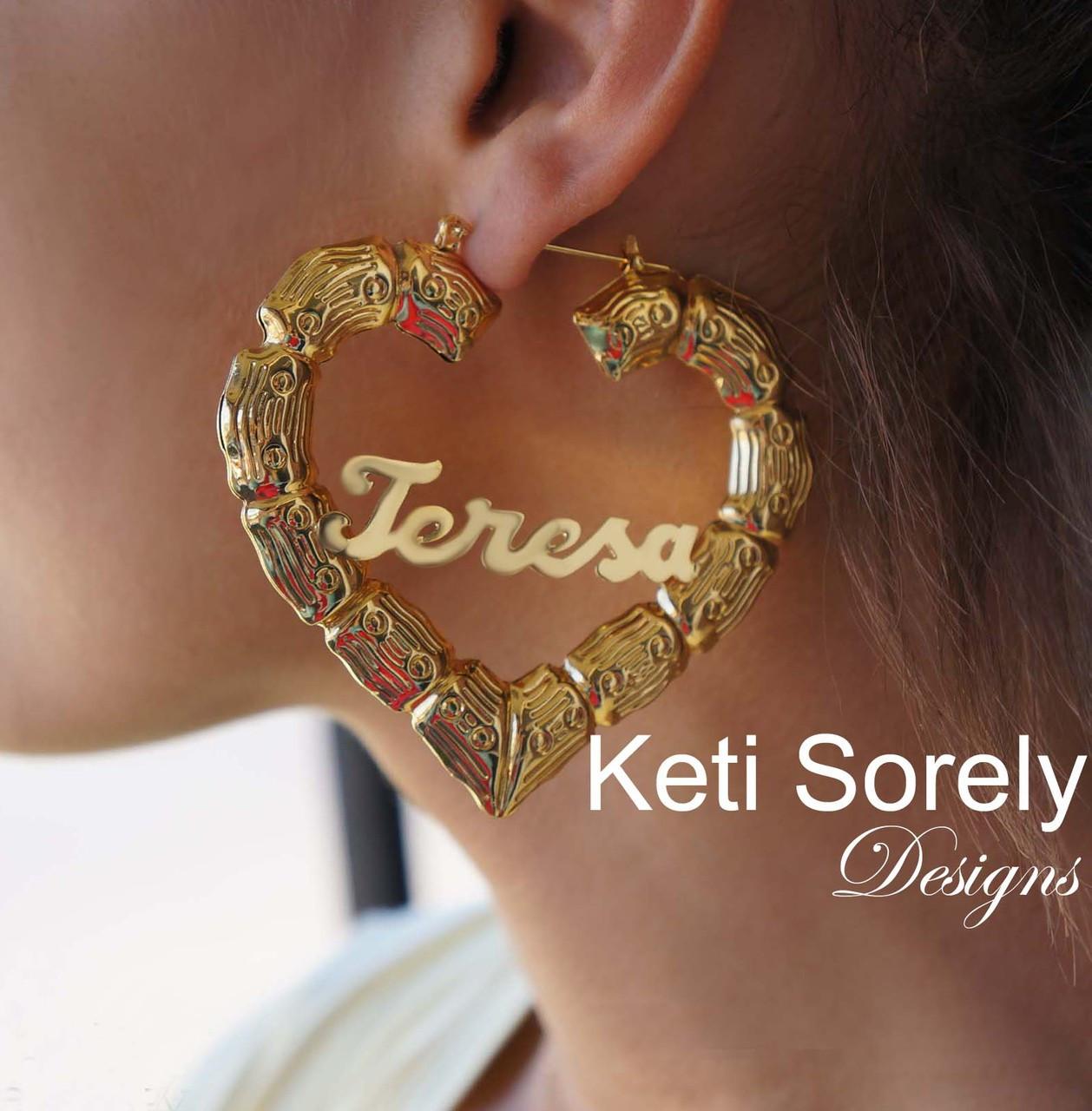 Celebrity Style Doorknocker Bamboo Earrings With Heart