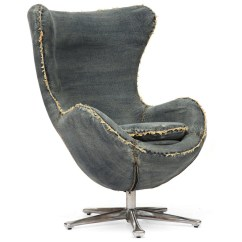Blue Egg Chair Push Button Recliner Chairs Collins Denim Arm Zin Home