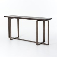 Brant Console Table With Wrought Iron Base | Zin Home