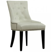 Uptown Tufted Cream Leather Dining Chair | Zin Home