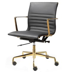 Office Chair Gold Bunnings Stackable Covers Black Italian Leather 43 M346 Modern Chairs