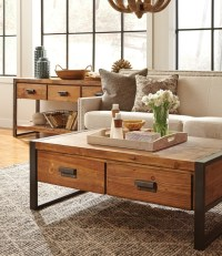 Rustic Industrial Coffee Table with Drawers | Zin Home