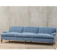 Professor Plum's Blue Linen Upholstered English Roll Arm ...