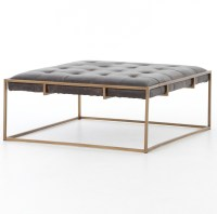 Oxford Tufted Black Leather Square Ottoman Coffee Table ...