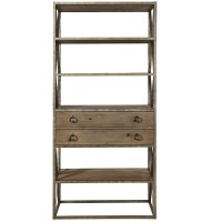French Industrial Wood and Iron Etagere Bookcase w ...