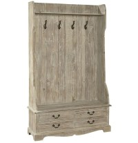 French Country Rustic Entry Storage Bench with Coat Rack ...