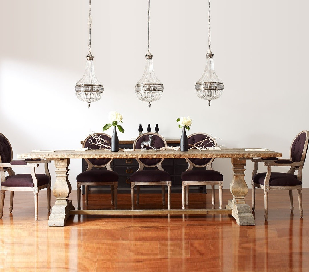 Natural Rustic Reclaimed Wood Trestle Dining Table 87