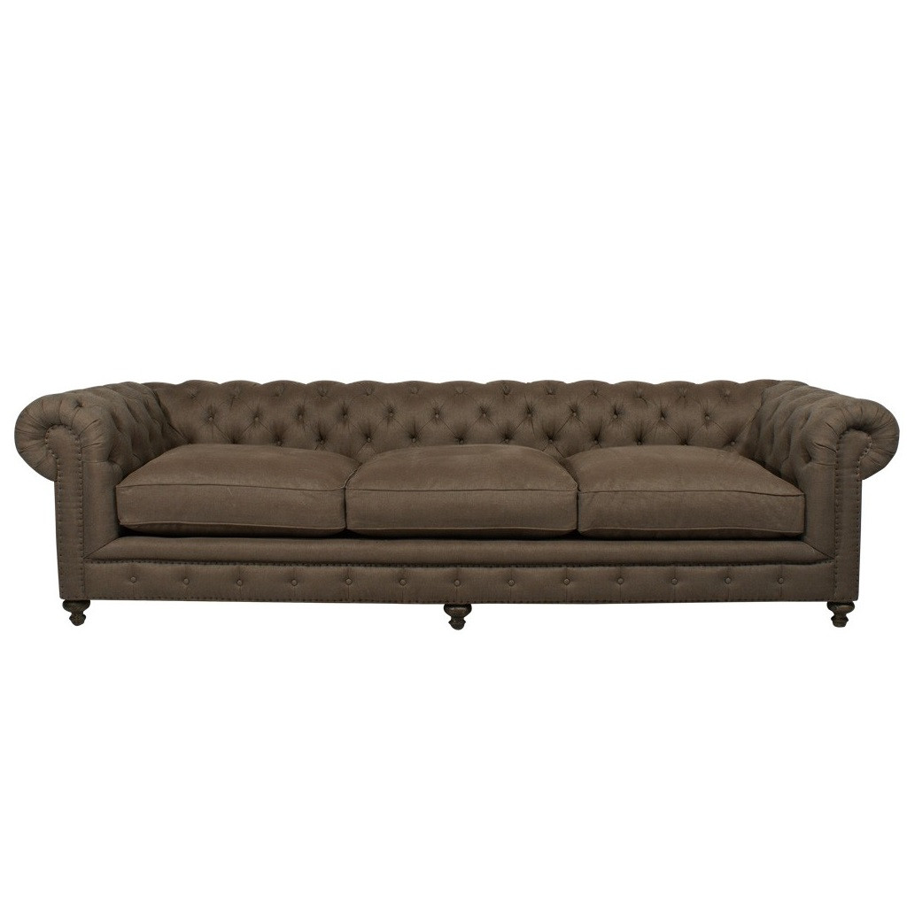 tufted linen sectional sofa 60 inch rv bed chesterfield cigar club upholstered 118