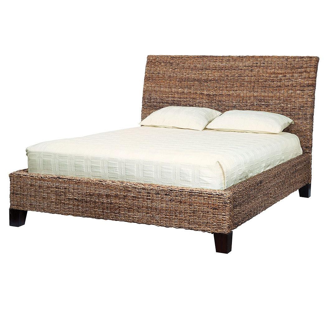cane sofa bed cheap sectional covers lanai banana leaf woven king platform rattan