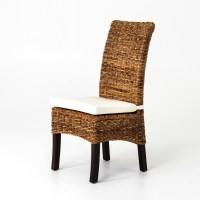 Banana Leaf Woven Side Chair with Cushion | Seagrass ...