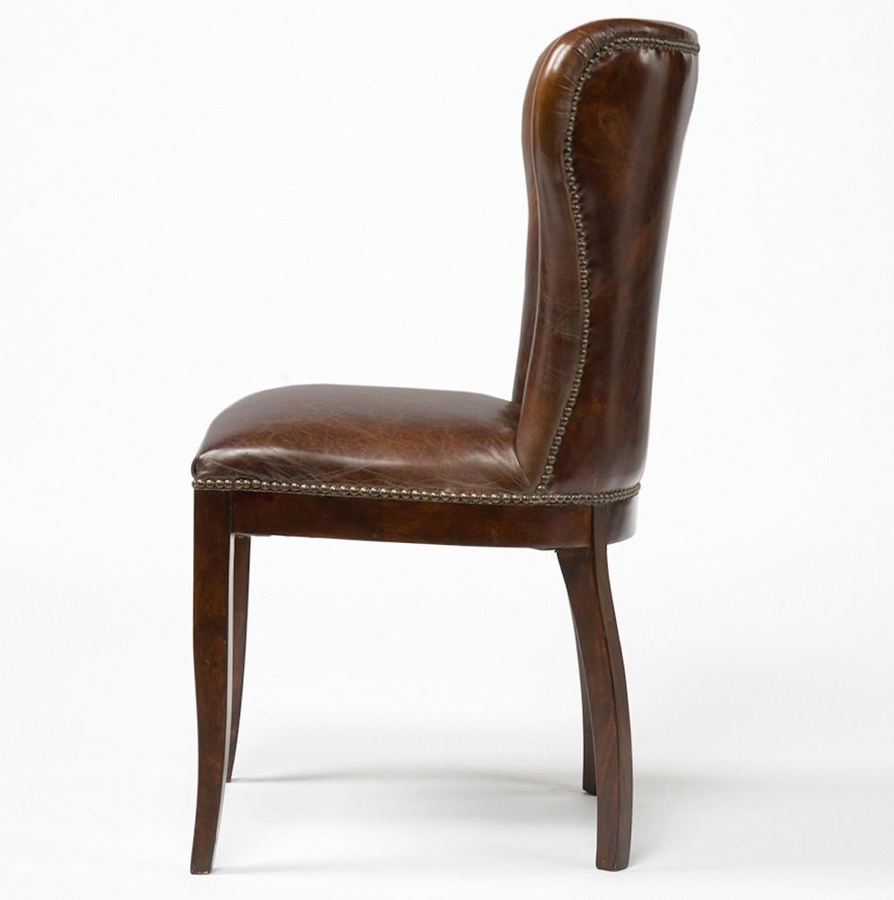 nailhead wingback chair howard elliott puff covers richmond vintage tan leather dining | zin home