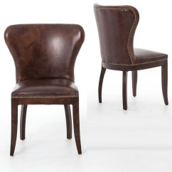 Dining Chair Leather Blue Tufted Slipper Richmond Vintage Tan Wingback Zin Home