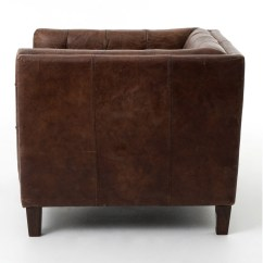 Abbott Vintage Cigar Tufted Leather Sofa English Roll Arm Sectional Club Chair Zin Home