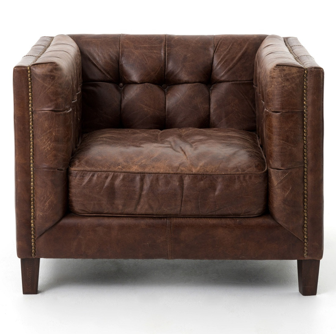 abbott vintage cigar tufted leather sofa plans to build a bed club chair zin home