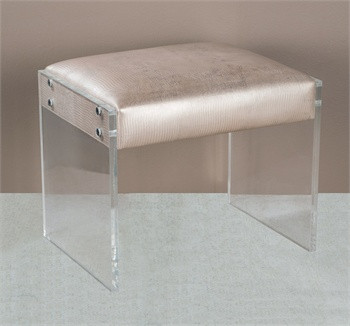big living room mirrors wood cupboard designs nori champagne leather vanity stool ottoman with acrylic ...