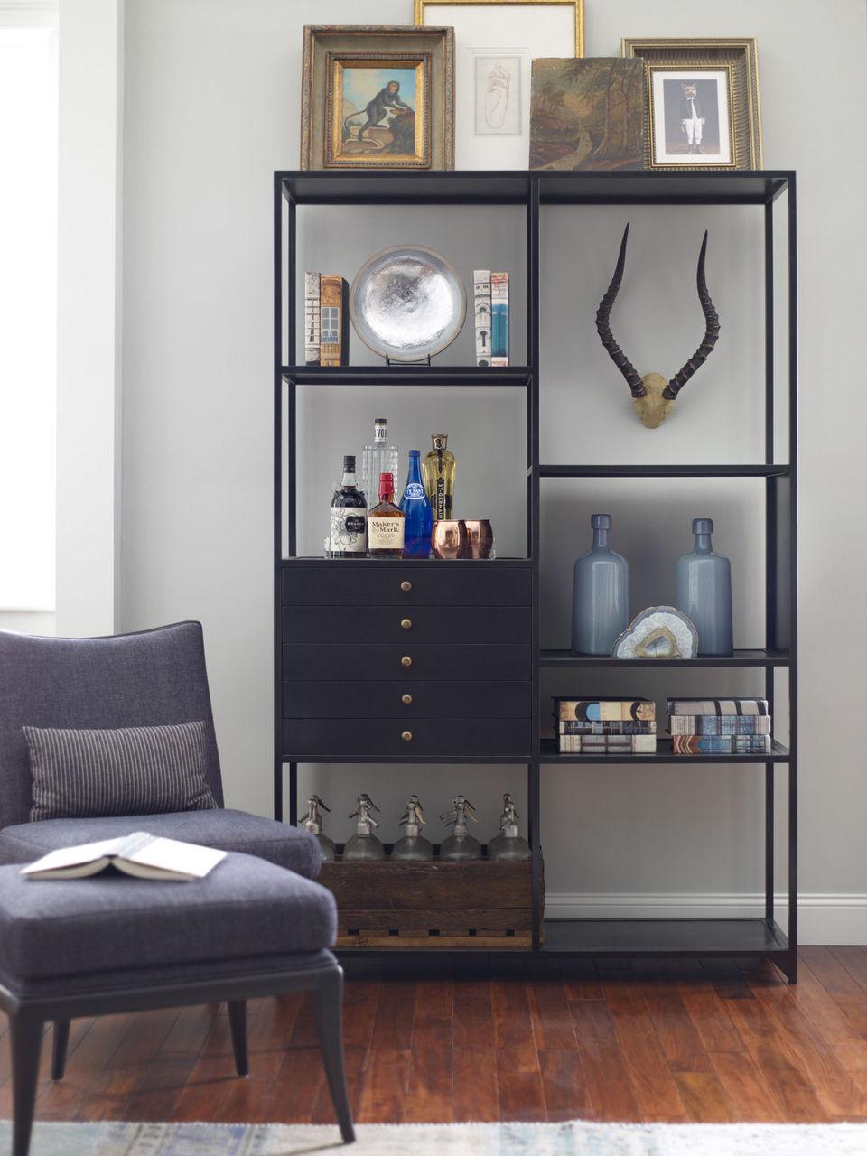 Shadow Box Industrial Black Metal Bookcase Zin Home
