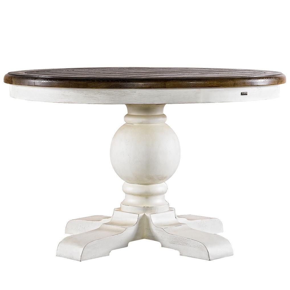 Kingdom Antique White Oak Pedestal Dining Table 48