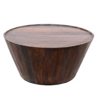 Rustic Solid Wood Round Barrel Coffee Table 32""