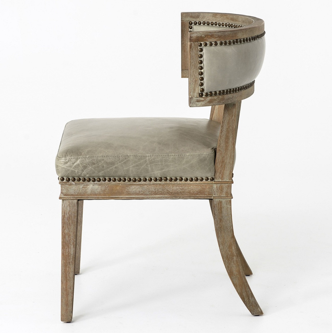 Carter Curved Grey Leather Dining Chair  Zin Home