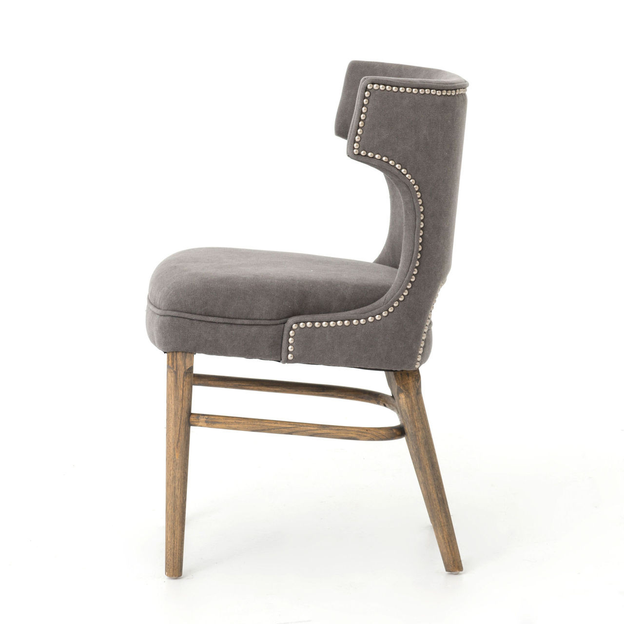 gray dining chair childrens wooden table and set task dark nailhead wing zin home