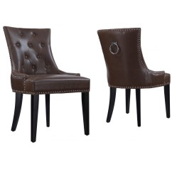 Leather Tufted Dining Chair Table Set Uptown Antique Brown Zin Home