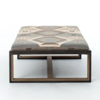 Eclectic Iron and Kilim Upholstered Coffee Table Ottoman ...