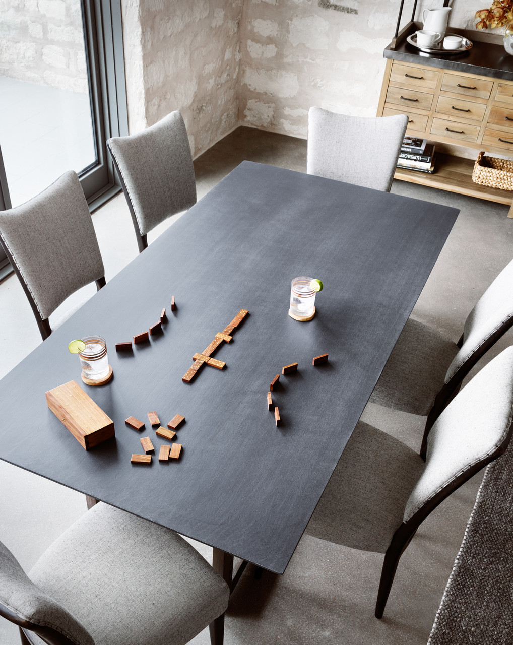 Masonry Wood And Black Concrete Top Dining Table 79 Zin