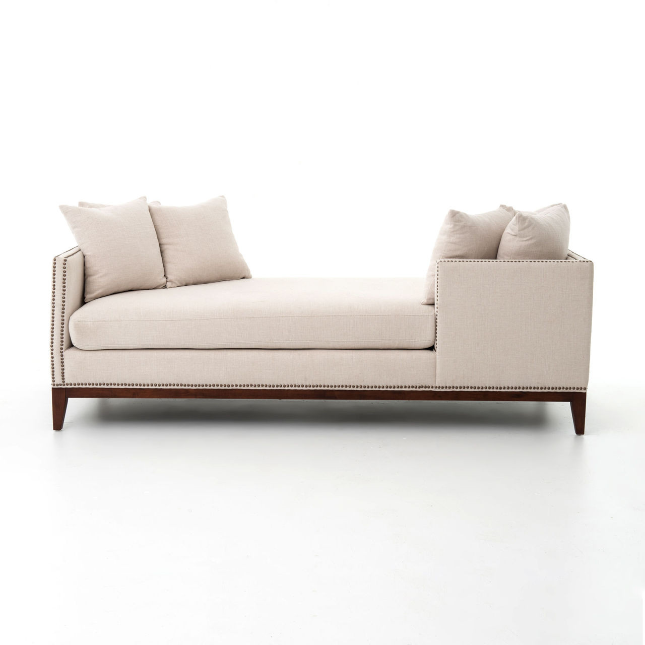 kensington chaise sofa bed l shaped cheap beige linen upholstered double daybed