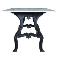 Dutch Industrial White Marble Top Dining Table | Zin Home