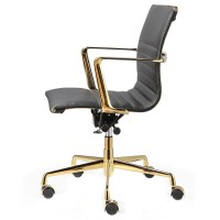 Black Italian Leather + Gold M346 Modern Office Chairs