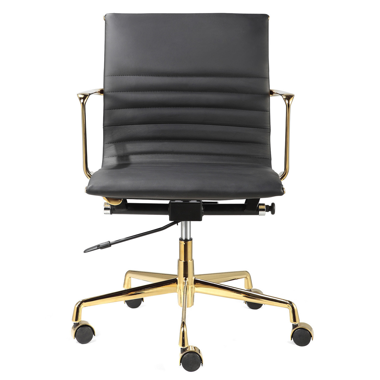 Dorado Office Chair Black Italian Leather 43 Gold M346 Modern Office Chairs