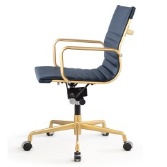 Navy Office Chair High Table Cover Gold And Blue Vegan Leather M348 Modern Chairs