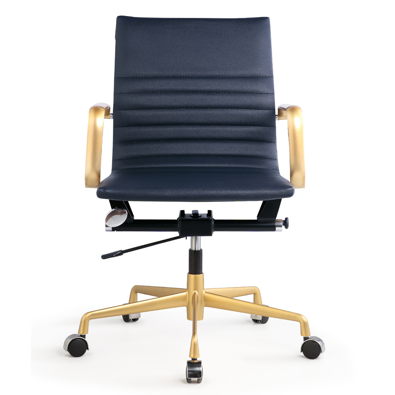 blue leather office chair cover rental peoria il gold and navy vegan m348 modern chairs