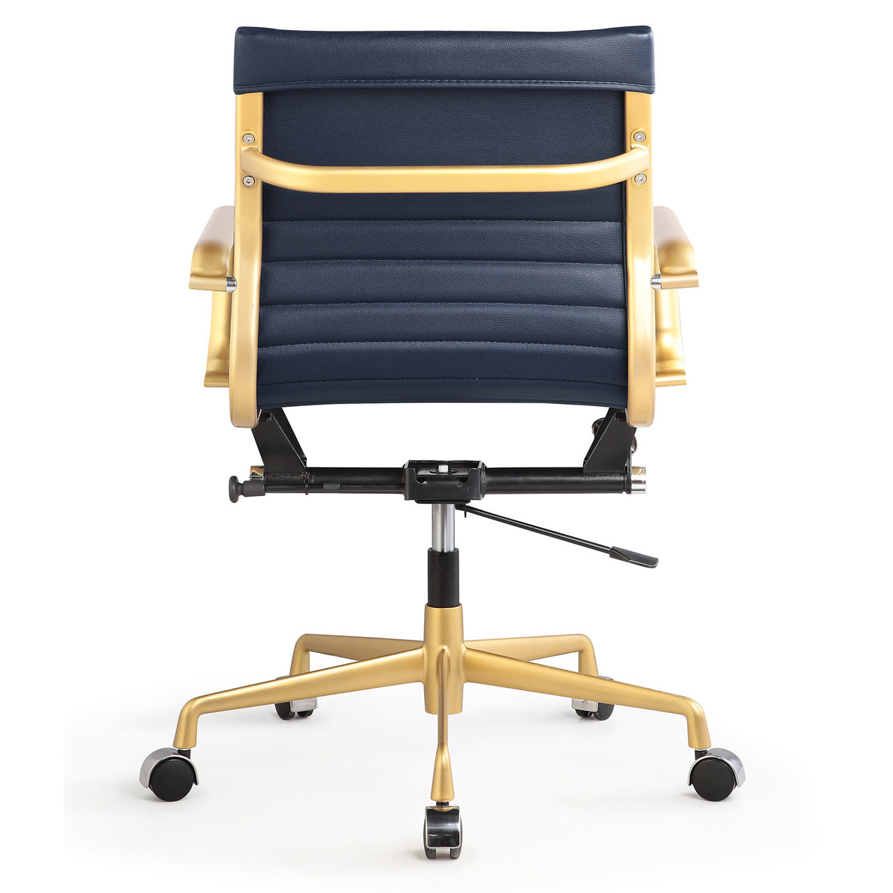 navy office chair troutman company gold and blue vegan leather m348 modern chairs
