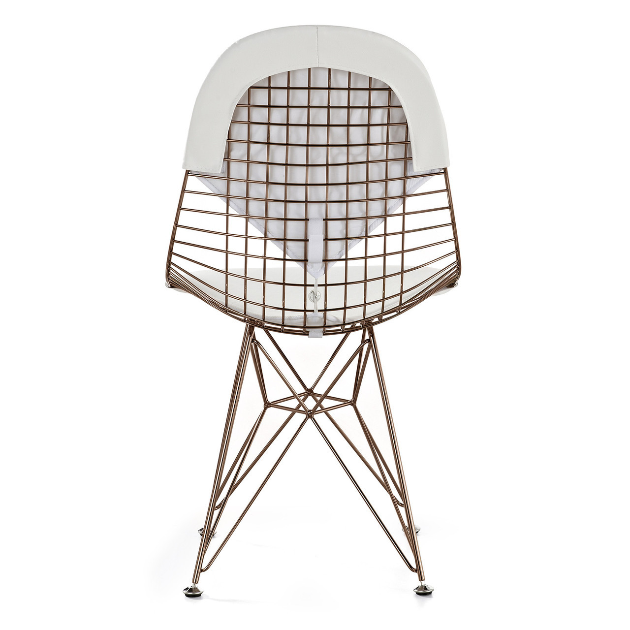 white wire chair metal leather rose gold 43 m245 modern