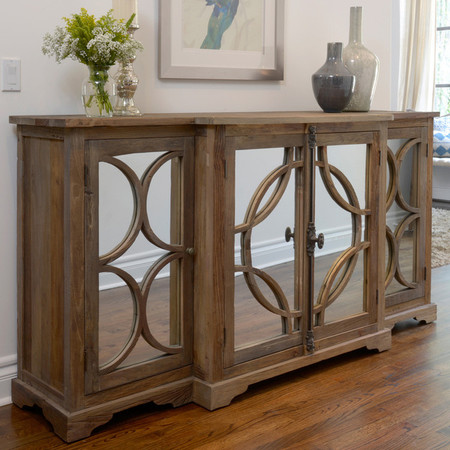 Wells Reclaimed Elm Wood Mirrored Sideboard Buffet  Zin Home