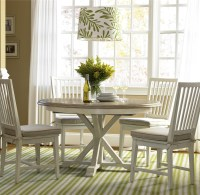 Coastal Beach White Oak Round Expandable Dining Table 54 ...