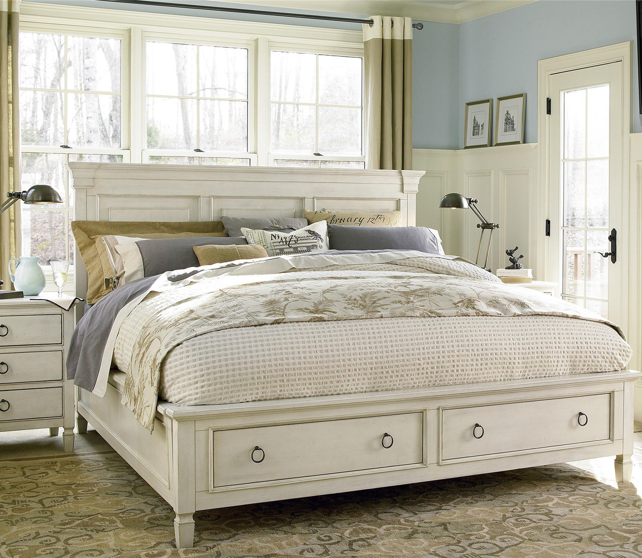 CountryChic Wood Queen Size White Storage Bed  Zin Home