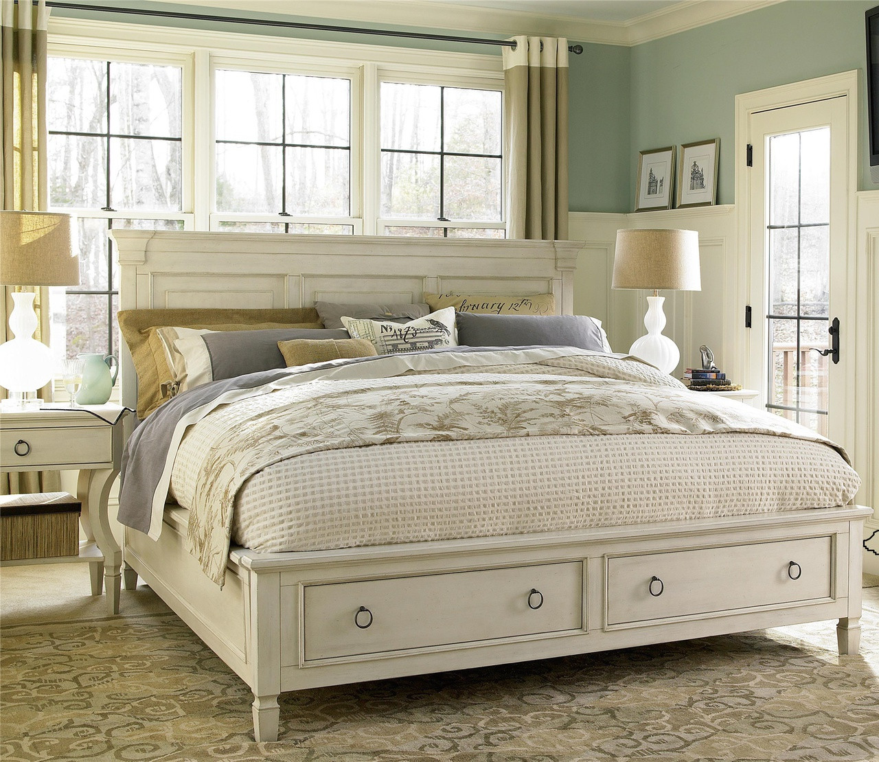 Country-chic Wood Queen Size White Storage Bed Zin Home