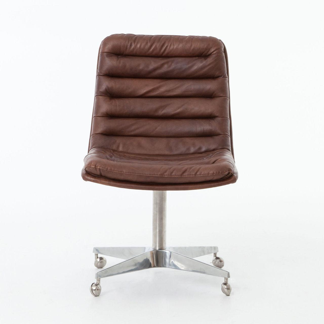 distressed leather desk chair steel keychain malibu whiskey office zin home