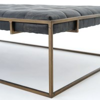 Oxford Tufted Black Leather Ottoman Coffee Table | Zin Home