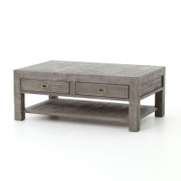 Parsons Reclaimed Wood Coffee Table with 2 Drawers - Grey ...
