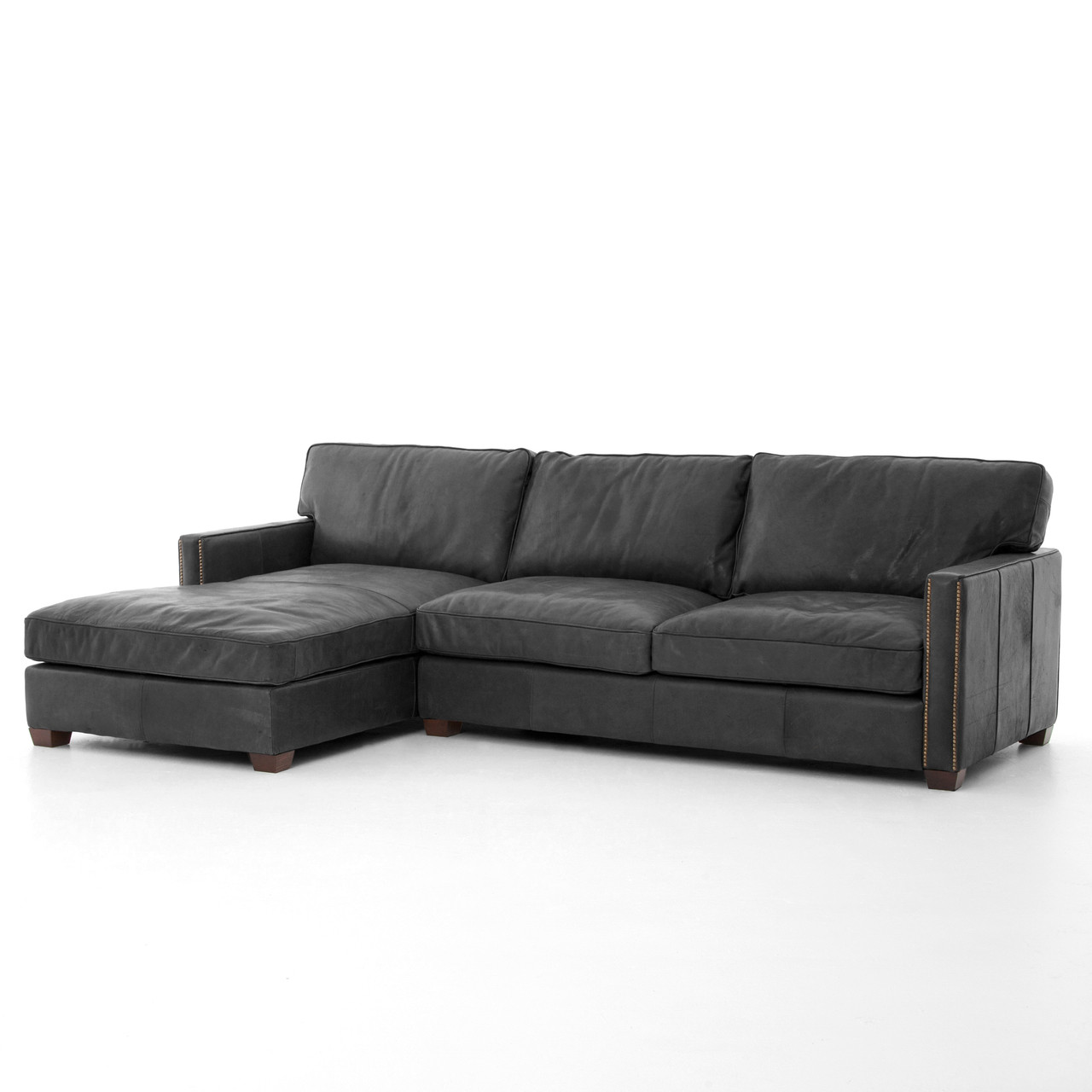 black and white leather sofa collect my free larkin vintage sectional with chaise