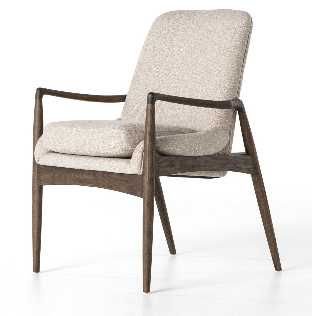Braden MidCentury Modern Upholstered Dining Arm Chair